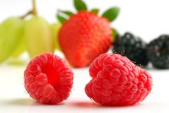 Raspberries. Rasperries studio isolated with more fruit in background Royalty Free Stock Photo