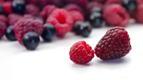 Raspberries against the background of a heap of raspberries and Royalty Free Stock Photos