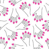 Raspberries on all fingers hand seamless pattern. Cute funny girlish illustration with raspberries nails. Stock Images
