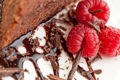 Raspberries And A Slice Of Chocolate Cake Royalty Free Stock Photo