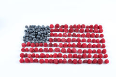 Raspberries arranged in a flag shape Royalty Free Stock Photography