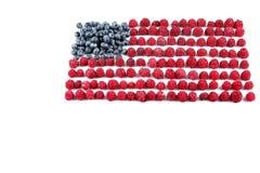 Raspberries arranged in a flag shape Stock Photo