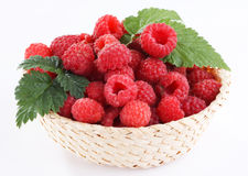Raspberries in the basket Royalty Free Stock Image