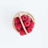 Raspberries in a basket Royalty Free Stock Image