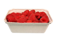 Raspberries. Basket box container cardboard paper Royalty Free Stock Photo