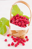 Raspberries in a basket Stock Photos