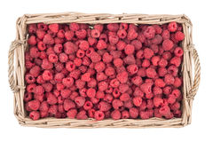 Raspberries in the basket isolated on white background. Top view Royalty Free Stock Photo