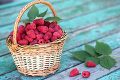 Raspberries in a basket Royalty Free Stock Image