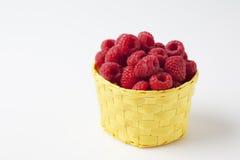 Raspberries in basket Stock Image