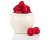 Raspberries berries. On white background Stock Images