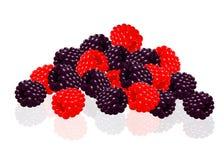 Raspberries and blackberries Stock Images