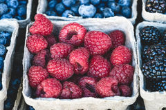 Raspberries, blackberries and blueberries market display. Raspberries, blackberries and blueberries background in small baskets for sale at market Royalty Free Stock Images