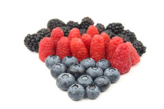 Raspberries, blackberries and blueberries on white background Stock Photography