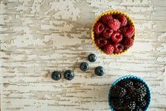 Raspberries and Blackberries in Ceramic Bowls on Rustic Backgrou. Nd Royalty Free Stock Images