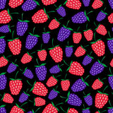Raspberries and blackberries fruit summer seamless dark pattern eps10 Royalty Free Stock Photo