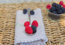 Raspberries and blackberries over lace napkin. Stock Images
