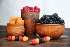 Raspberries and blackberries, red yellow and black royalty free stock photo