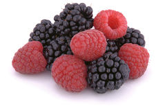 Raspberries and blackberries. On white background Stock Photography