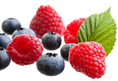 Raspberries and blueberries. Group of raspberries and blueberries isolated on white background Royalty Free Stock Photos
