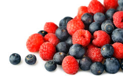 Raspberries & Blueberries Stock Photography