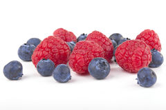 Raspberries and blueberries Royalty Free Stock Photography