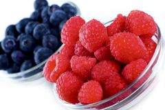 Raspberries Blueberries Royalty Free Stock Photos