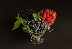 Raspberries, blueberries and blackberres Royalty Free Stock Image