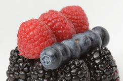 Raspberries, Blueberries and Blackberries. In a close-up shot Royalty Free Stock Photography
