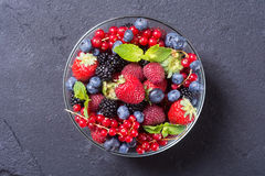 Raspberries , blueberries , blackberries , strawberries. Berries : raspberries , blueberries , blackberries , strawberries in a bowl . Top view Royalty Free Stock Images