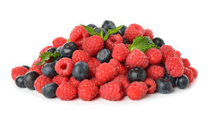 Raspberries and blueberries. Isolated on white background Stock Image