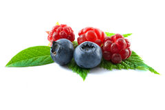 Raspberries with blueberries isolated on white background. Raspberries with blueberries and green leaves isolated on white background Stock Images