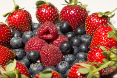 Raspberries, blueberries, strawberries on a plate Royalty Free Stock Photos