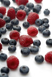 Raspberries and blueberries on white background Royalty Free Stock Photos