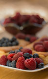 Raspberries and Blueberries That Will Be Added To Danish Pasteries Stock Photography