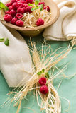 Raspberries in a bowl. With fresh mint Royalty Free Stock Images