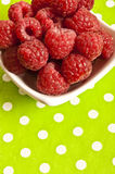 Raspberries. In a bowl over a green background stock photography