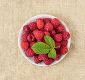 Raspberries in a bowl. On a table Royalty Free Stock Photography
