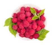 Raspberries in bowl top view Stock Photo