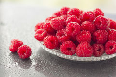 Raspberries in a bowl wet on wet background Royalty Free Stock Images