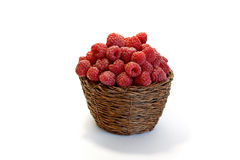 Raspberries in a bowl   on white. Background Royalty Free Stock Photo