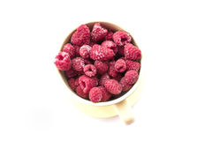 Raspberries. In a bowl on a white background Royalty Free Stock Photos