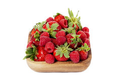 Raspberries on bowl Stock Photos