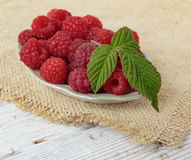 Raspberries in a bowl on a wooden table. Raspberries in a bowl on a wooden white table Stock Image