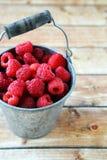 Raspberries in a bucket Royalty Free Stock Image
