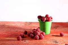 Raspberries in a bucket Royalty Free Stock Images