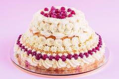 Raspberries cake Stock Photos