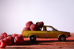 Raspberries in a car Royalty Free Stock Photo