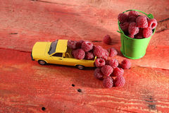 Raspberries in a car. Miniature car carrying raspberry fruits near a green metal bucket full of raspberries Stock Photos