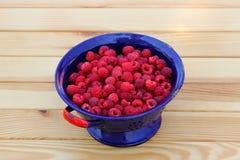 Raspberries in colander Royalty Free Stock Images