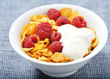 Raspberries and corn flakes Stock Images